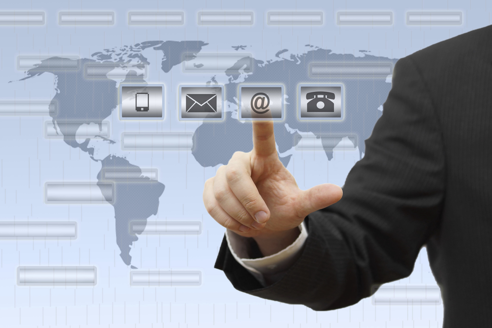 Businessman pressing virtual ( mail,phone,email ) buttons. support concept